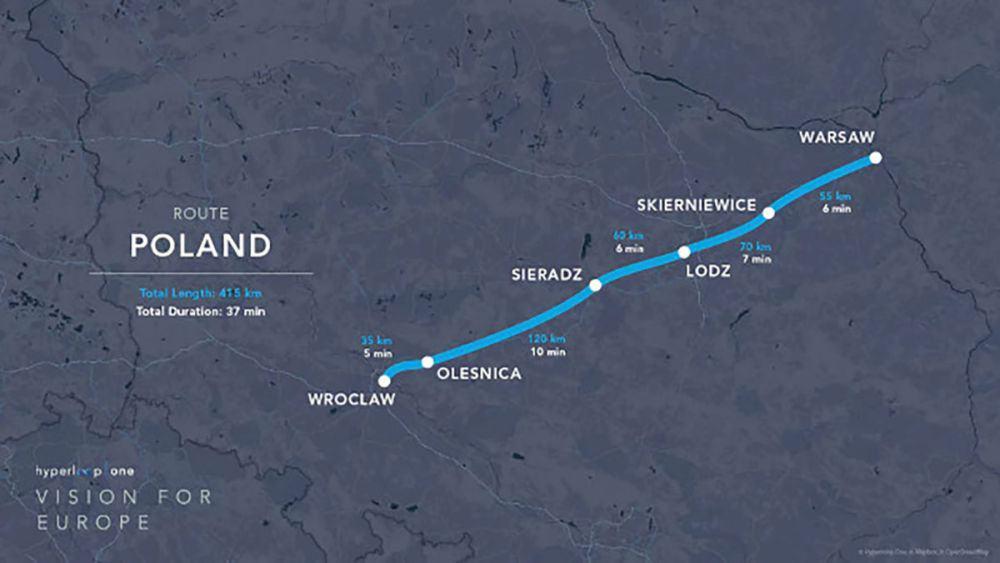 projekt trasy Wrocław - Warszawa